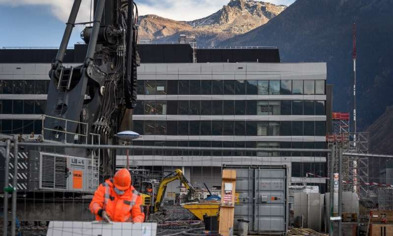 Construction is seen at a site in Visp, Switzerland where pharma contractor Lonza will produce Moderna's vaccine for all countri