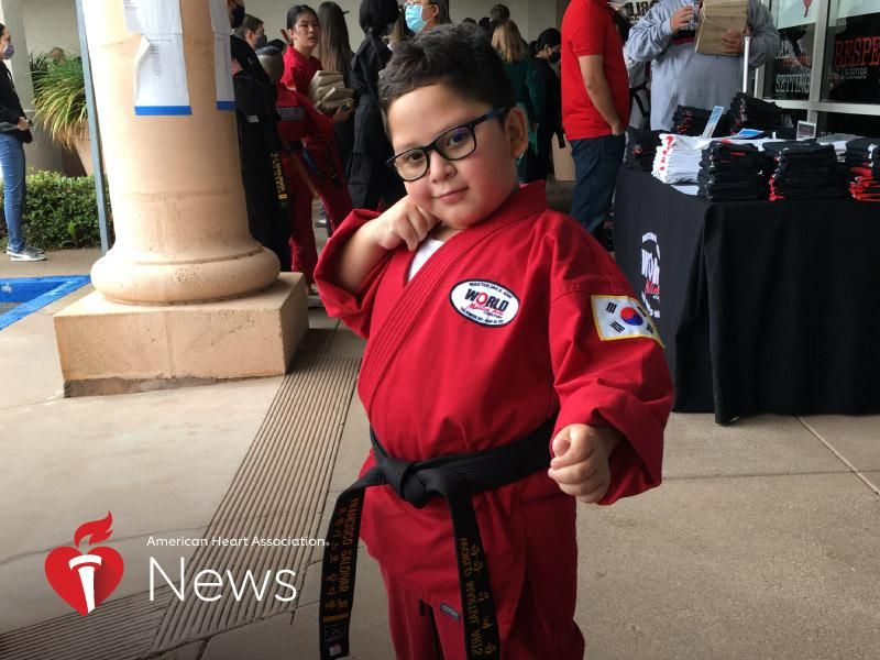 News Picture: AHA News: He Went From Open-Heart Surgery at 5 to a Black Belt at 7