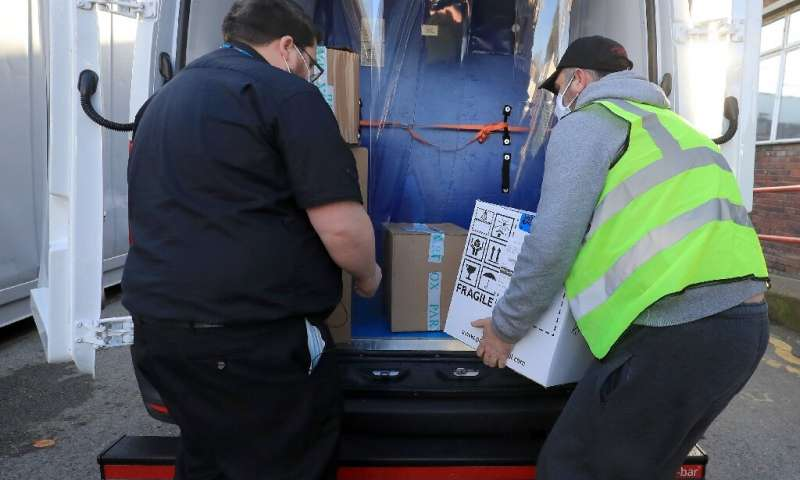 The Pfizer/BioNTech vaccine is seen here being delivered to Croydon University Hospital in London on December 5, 2020—the logist