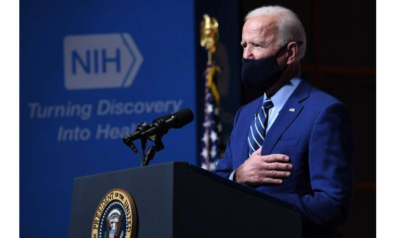 US President Joe Biden announces the US will acquire 200 million new vaccine doses during a visit to the National Institutes of