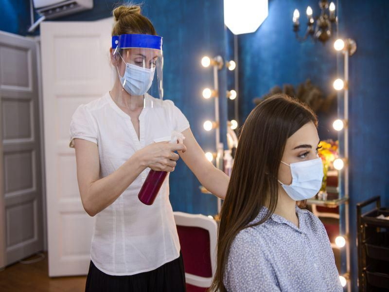 News Picture: Hair Salon Talk Can Spread COVID, But Face Shields Cut the Danger